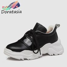 DORATASIA 2019 New Spring Genuine Cow Leather Sneakers Woman Lace Up Mixed Color Luxury Casual Flats For Ladies Shoes