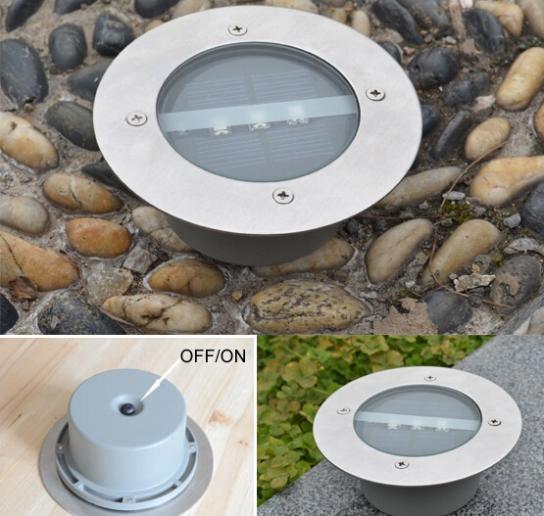 4pcs/lot Outdoor Lighting Solar Powered Panel LED Floor Lamps Deck Light 3 LED Underground Light Garden Pathway Spot Lights