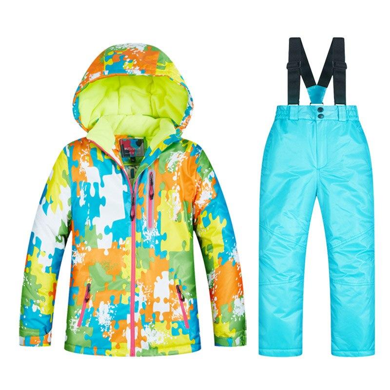 Combinaisons de Ski imperméables Super chaud 2019 hiver veste et pantalon enfants Ski et snowboard vêtements veste de neige pour les marques de garçons - 6