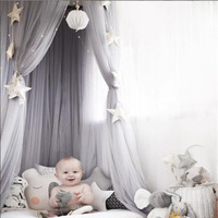Pink Gray White Baby Girls Princess Mosquito Nets Kid Bedroom Decor Hanging Ceiling Mosquito Net Net Yarn Single Door
