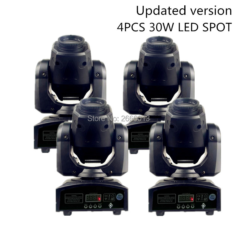 4pcs/lot Newest 30W LED Spot Moving Head Light/30W Gobo Home Party KTV DJ Disco Lights/LED Patterns Effect Stage Lighting Lamp 4 pieces lot moving head 30w gobo led lighting spot light dj set gobo christmas lights dj light projector for bar party event