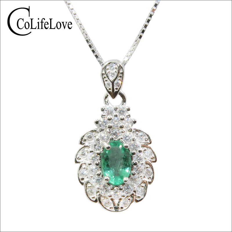 100 real Zambia emerald pendant for wedding 0 4ct 4 mm 6 mm emerald necklace pendant