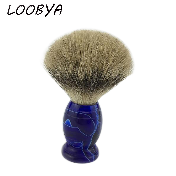 Men Beard Shaving Brush Barber Salon Tool With Badger Hair Acrylic Blue Handle