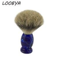 Men Beard Shaving Brush Barber Salon Tool With Badger Hair Acrylic Blue Handle