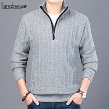 2019 New Fashion Brand Sweater Men Half Zip Pullover Slim Fit Jumpers Knitwear Thick Autumn Korean Style Casual Clothing Male