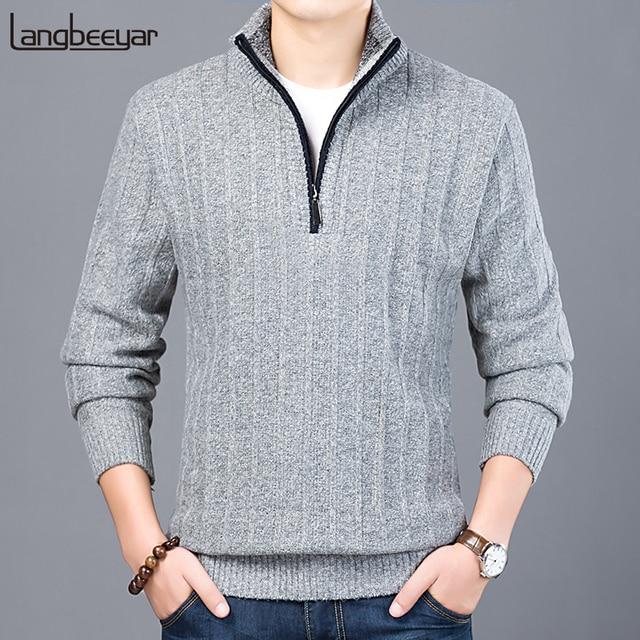 2019 neue Mode Marke Pullover Männer Half Zip Pullover Slim Fit Jumper Strickwaren Dicke Herbst Koreanische Stil Casual Kleidung Männlichen
