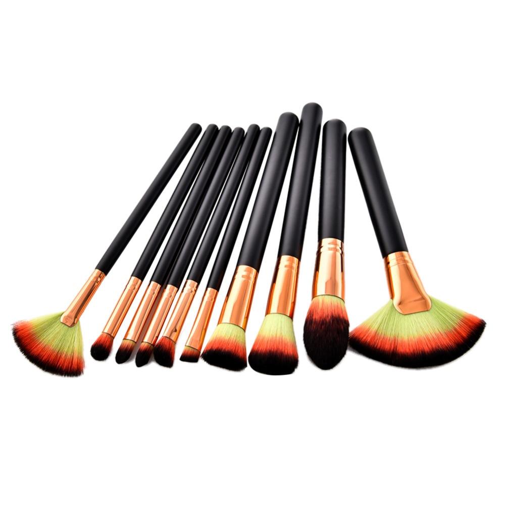 10Pcs Gold Aluminum Makeup Brushes Tricolor Hair Flat Flame Make Up Brush Set Eyebrow Eyeshadow Concealer Powder Brush
