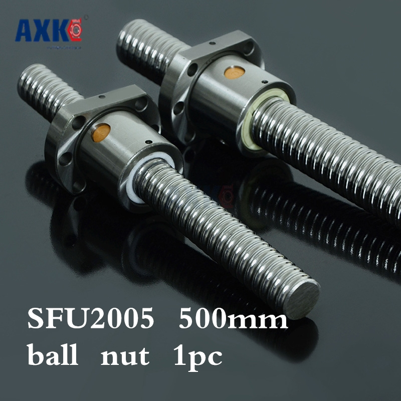 2017 Cnc Router Parts AXK Axk New 20mm Sfu2005 Ball Screw Rolled Ballscrew 500mm With Single 2005 Flange Ballnut For Cnc Part cnc router wood milling machine cnc 3040z vfd800w 3axis usb for wood working with ball screw