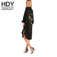 HDY Haoduoyi Black Women Dress Long Sleeve Turn Down Collar Split Side Straigh Dress Women Embroidery