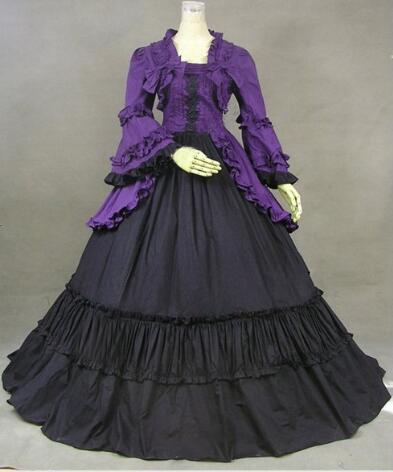 (LE003) Halloween Cosplay manches longues Cosplay Costumes gothique victorien sorcière robe robe de bal reine Lolita robe