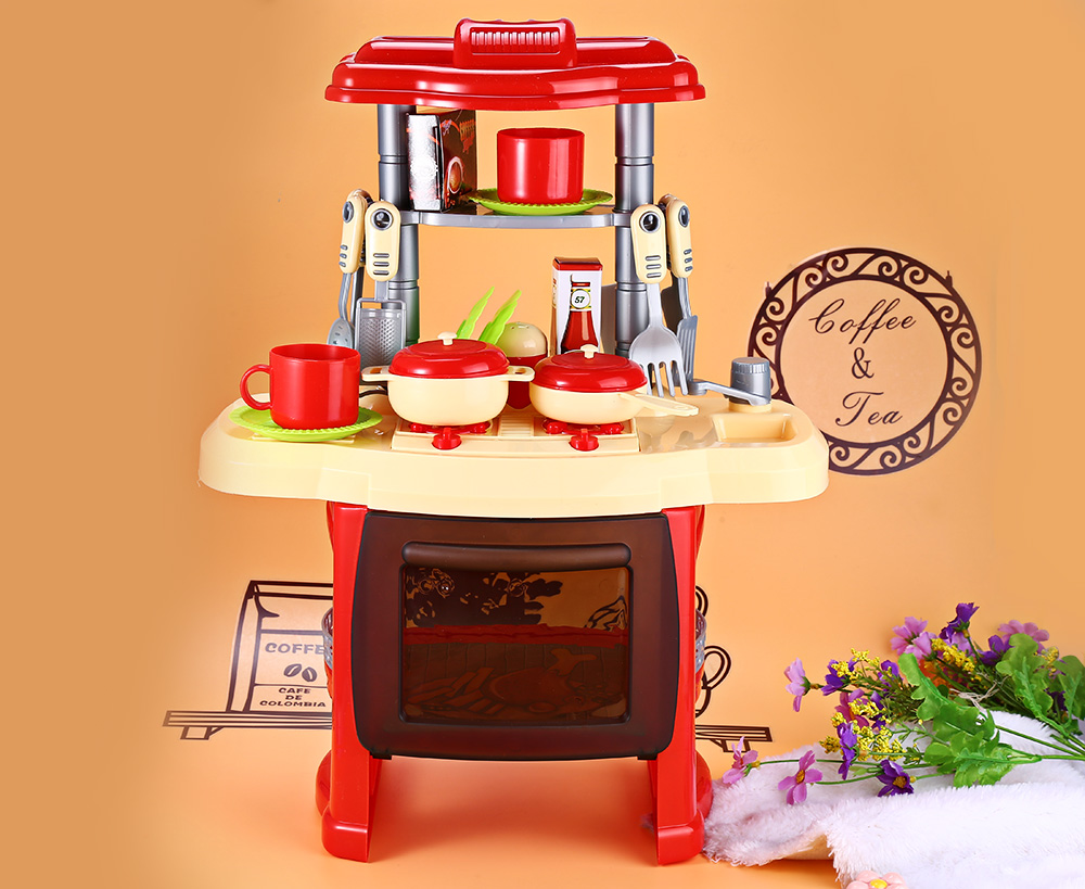Kids Kitchen Toys Cart On Wheels Baby Miniature Plastic Pretend Play Food Children With Beauty Cooking Toy For Light Sound Effect Funny House
