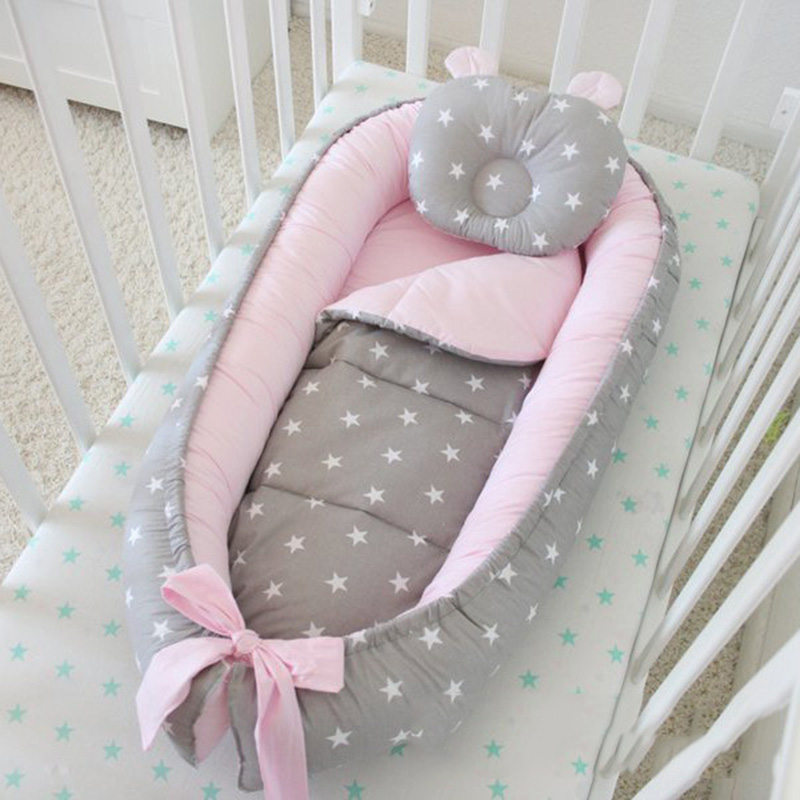 Pink GrayBaby Warm Silky And Cool Mattress Portable Infant Bed Cotton Removable And Washable Anti-fall Children's Mat Children's