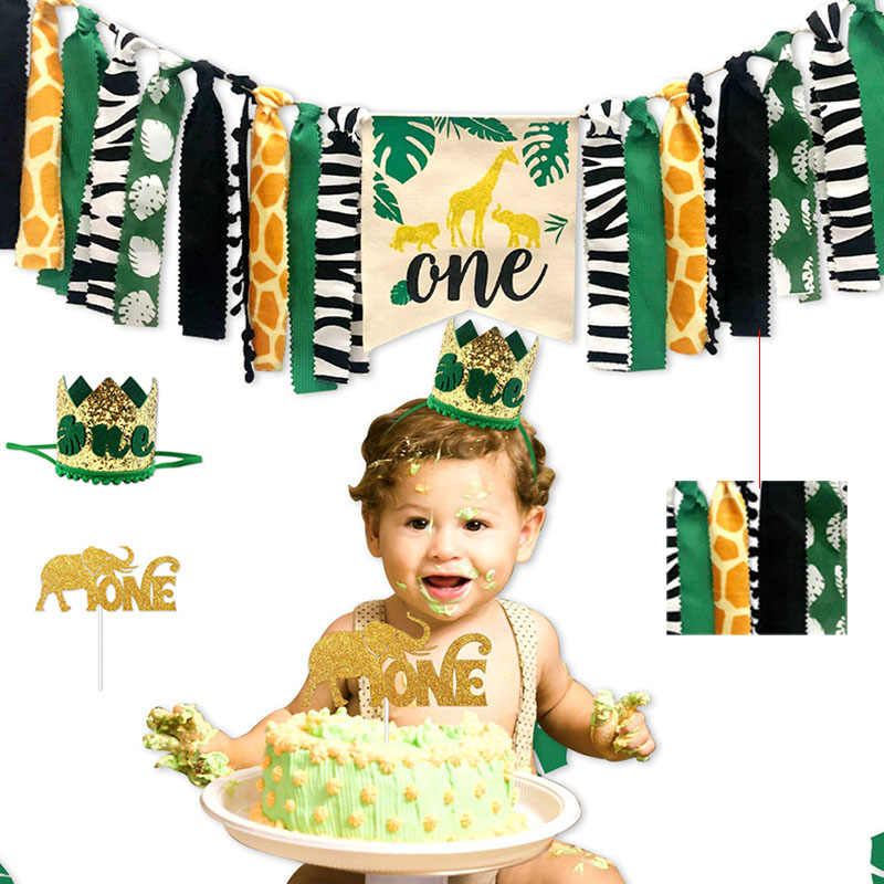 สัตว์ป่าชุด Highchair แบนเนอร์ตกแต่ง Crown อุปกรณ์สำหรับทารก 1st วันเกิด KM88