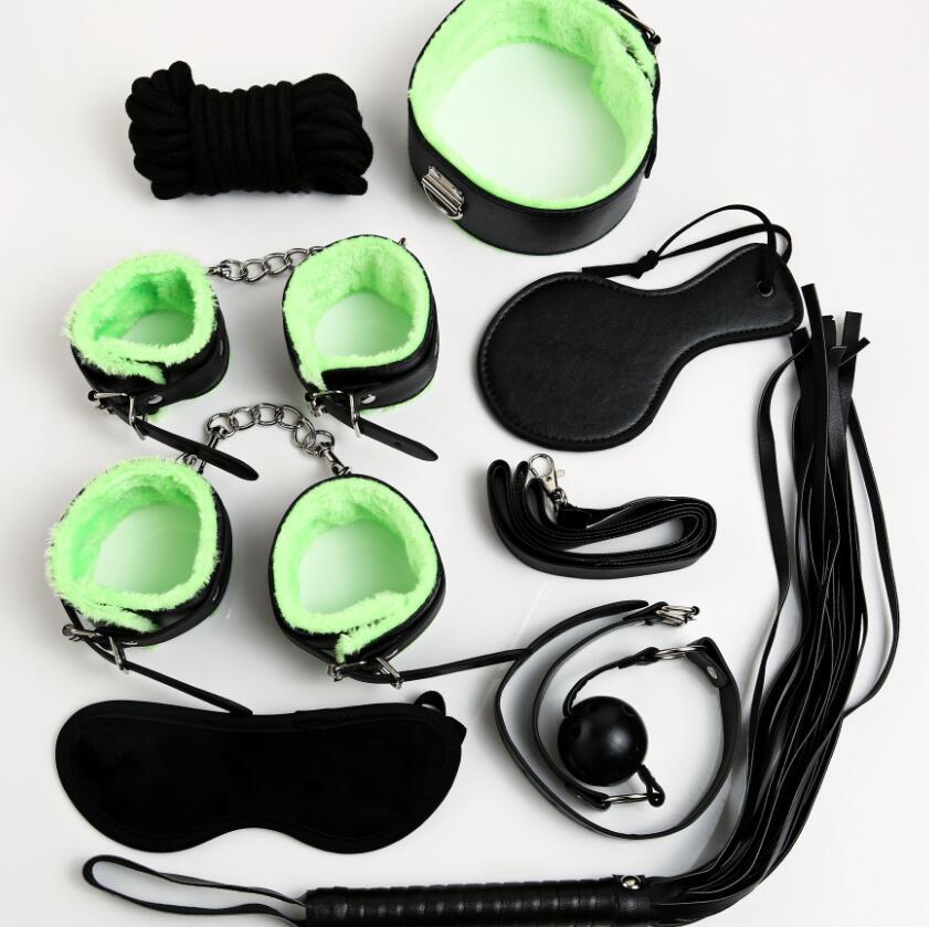 The 9Pcs/Set Grade Sexy Pu Leather Fetish Bed Restraints Couples Sex Products Bdsm Bondage Set,Bondage Rope Handcuffs Collar Gag