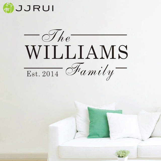Jjrui personalised family name wall art quote kitchen bedroom lounge est sticker decal diy wall stickers