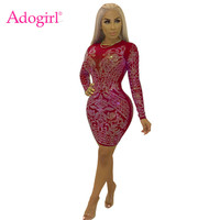 Adogirl Floral Diamonds Sheer Mesh Bodycon Club Dress Women Sexy Long Sleeve Sheath Mini Party Dresses Performance Outfits