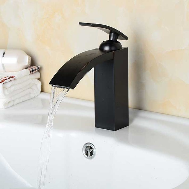 Oil Rubbed Bronze antique black copper Waterfall Bathroom Sink ...