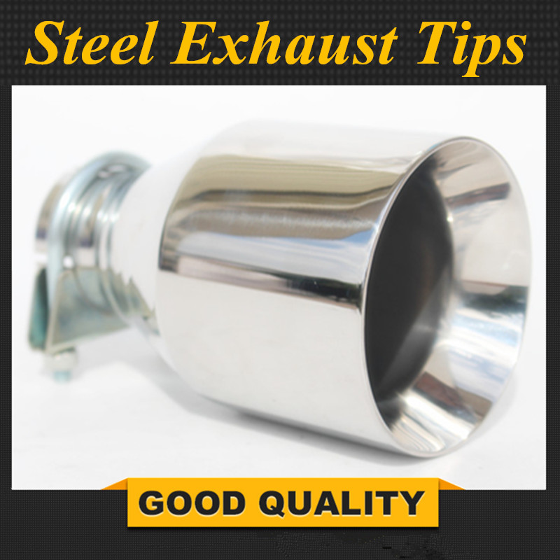 Universal Car Muffler <font><b>Exhaust</b></font> System Polished Stainless Steel <font><b>Exhaust</b></font> <font><b>Tip</b></font> Silencer <font><b>57mm</b></font> inlet To 102mm outlet <font><b>Exhaust</b></font> Pipe image