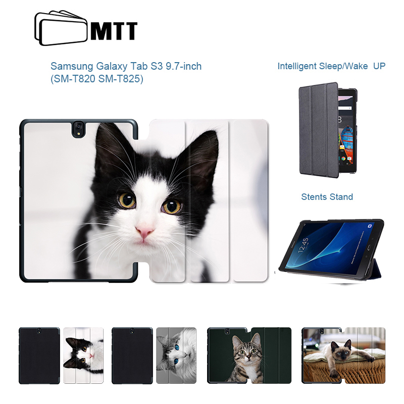 Cute Pet Cats Tablet case For Samsung Galaxy Tab S3 9.7 Ultra-thin PU Leather Tablet Cover For Samsung Tab S3 SM-T820 T825 T829 new luxury pu leather case for samsung galaxy tab s3 9 7 t820 t825 flip stand cover tablet case for samsung galaxy tab s3 t820