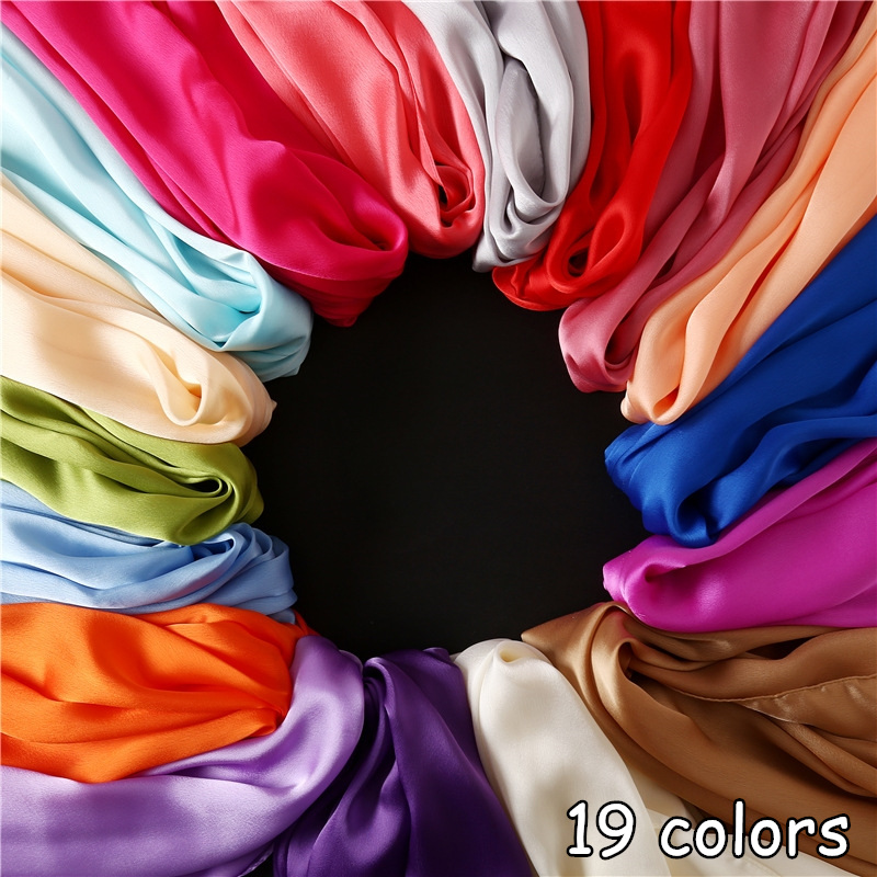 19 colors Plain silklike solid scarf imitated silk fabric muslim hijabs shawl woman luxury scarves muffler wrap pashmina