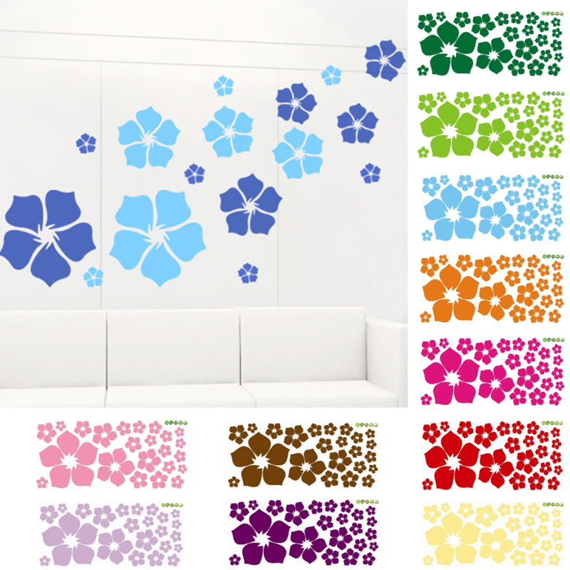 1pcs Removable Beautiful Flowers Wall Stickers For Kids Rooms Living Room Bedroom Home Decoration DIY Art PVC Vinyl Decals A55