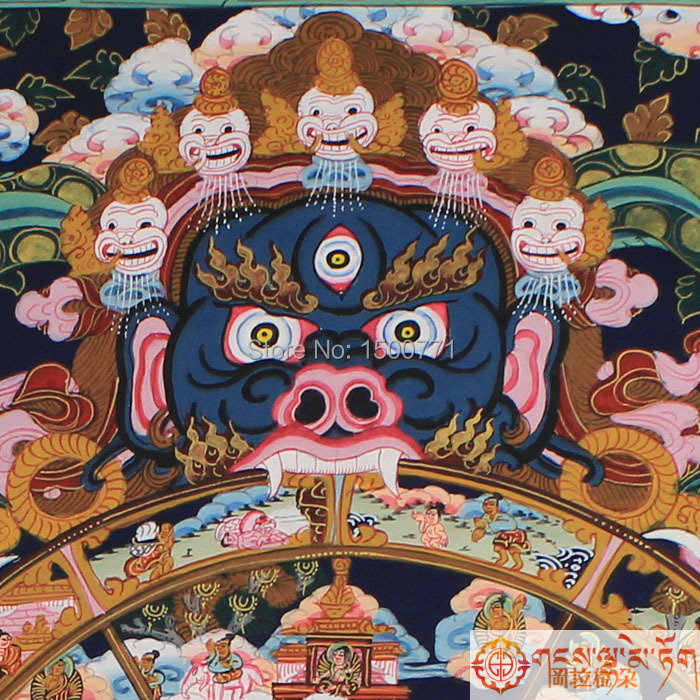 Thangka tibétain peint à la main de bouddha dans le temple de parure Samsara