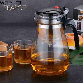 Hot sale Heat Resistant Glass Teapot Chinese Tea Set Puer Kettle Coffee Glass Maker Convenient Office Tea Pot With filter 1