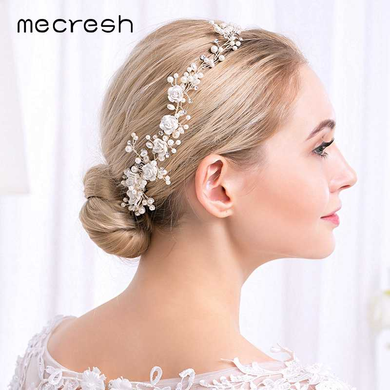 Mecresh Charm Silver Color Simulated Pearls Wedding Hair Combs Jewelry Flower Crystal Headdress Bridal Hair Accessories FS257