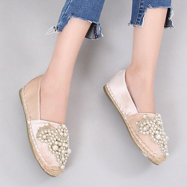 acdb58a5c Diseño Decorar Lona 1 Las 2 Mocasines Femeninos Mujeres Cristal Moda Lujo  Paja Zapatos Alpargatas De Ur1qIxr