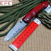 EFE EF84 다마스커스 접이식 칼 레드 나무 핸들 + 다마스커스 강철 블레이드 나이프 야외 도구 사냥 캠핑 나이프 + 도매