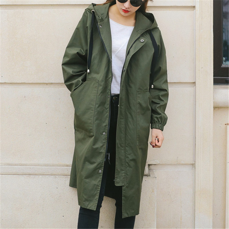 New Fashion 2019 Long   Trench   Coats Women's Spring Autumn Coats Casual Plus Size Zipper Winter Windbreaker Female Outerwear X18