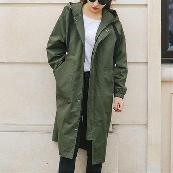 Nueva moda 2018 abrigos largos de gabardina para mujer primavera otoño  abrigos Casual más tamaño cremallera invierno rompevientos ropa de abrigo  femenina ... fc924d87c79a