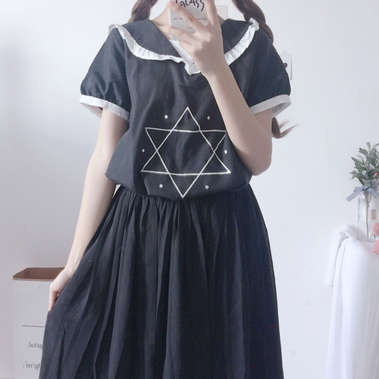 Sweety T-shirt Women Lovely Cool Summer Pentagram Magical Girl Ruffled Preppy Gothic Tops Casual Tees T Shirts 2018 Kawaii Tees