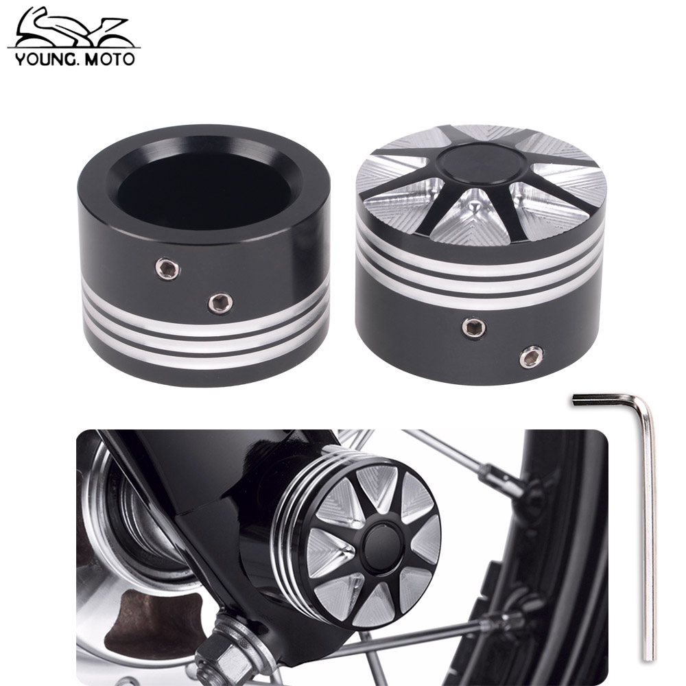 YOUNG.MOTO 2Pcs Black Motorbike Front Axle Nut Cover Bolt Cap CNC Billet Aluminum Deep Cut For Harley Touring Dyna XL XG Softail