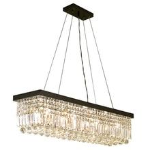 Lustre rectangulaire suspendu en cristal, design moderne, éclairage décoratif de plafond, idéal pour un salon ou un Bar, LED