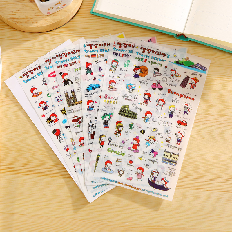 6 Sheets/lot, Different Diy Cute Waterproof High Quality Koran Style Pvc Lovely Planner Stickers Scrapbooking Diary Memo Pads
