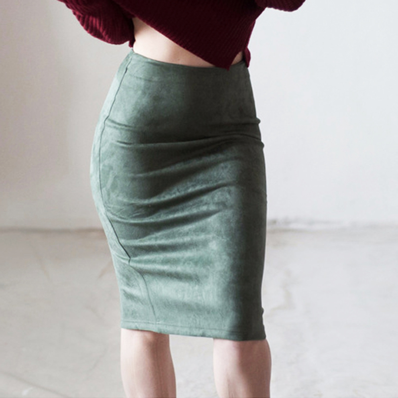 Women Skirts Suede Solid Color Pencil Skirt Female Spring Autumn High Waist Bodycon Vintage Suede Split Thick Stretchy Skirts