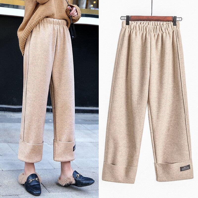 2019 Autumn New Women Elastic Woolen   Pant   Female Plus Size Casual Trousers   Wide     Leg     Pants   Winter Wool Ankle-length   Pants