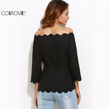 COLROVIE Belted Off The Shoulder Scallop Blouse