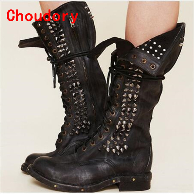 7782de751c5 US $366.0  2017 Punk Style Studded Seattle Western Cowboy Love Boot Black  Real Leather Combat Boots Motorcycle Knee High Riding Boots Women-in ...
