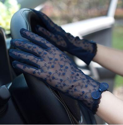 Spring Summer Women's Lace Sunscreen Gloves Lady's Anti-uv Slip-resistant Driving Gloves Sexy Transparent Lace Gloves R1070