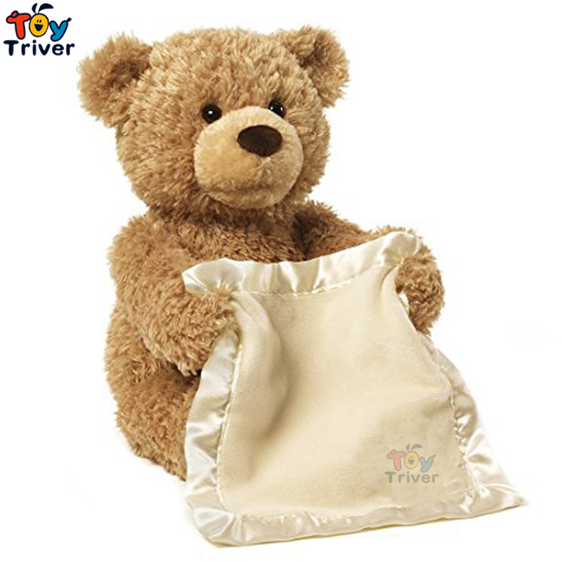 30cm Plush Peek a Boo Teddy Bear Play Hide And Seek Stuffed Teddy Bears Singing Music Bear Baby Kids Birthday Interactive Gift