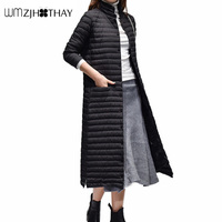 2019 New Winter Fashion Casual Female Coat Temperament Slim Warm Cotton Parker Extra Long Lightweight Down Jacket Outerwear MF27
