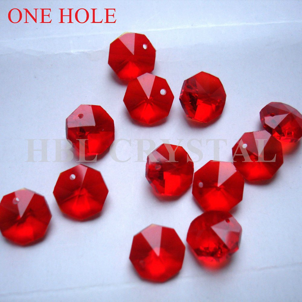 United 300pcs/lot 14mm Red Glass Octagon Beads In One Hole Free Shipping And Children Wedding Chandelier Lamp Beads Dress Christmas Tree Beads Suitable For Men Women