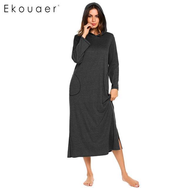 Ekouaer Long Nightgowns Sleepwear Dress Women Long Sleeve Loose Hooded  Pullover Nightdress Female Chemise Nighty Dress Autumn 759f385cf