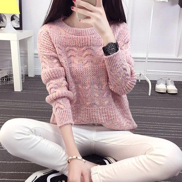 Femmes Pull Tricots Longues Pink beige pull Chandails Mode Rose E0622 Coréenne D'hiver beige Manches Tricoté Lâche 2016 Et femmes BCwOSx0vqO