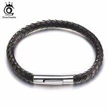 ORSA JEWELS Black Genuine Leather Men's Bracelet with Stainless Steel Clasp New Charm Bracelet for Men Christmas Gift GTB42