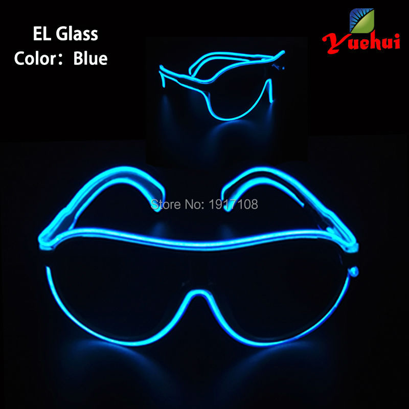 2017 Hot sales 10Colors Choice Flickering EL Wire Trendy Neon Light Glasses Child Glow Birthday Gift with Colorful Party Decor