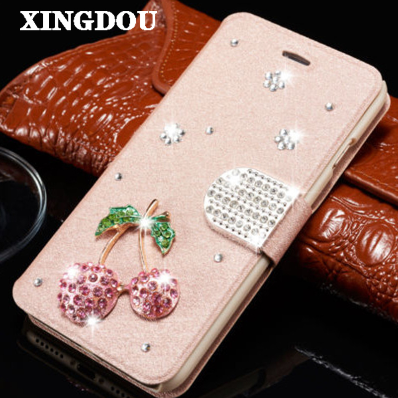 XINGDUO For iphone 7 7Plus PU leather bling Cherry filp wallet phone case Cover Diamond for iphone 6 6S 6Plus 6SPlus 5S SE 4 4S