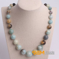 Round Smooth Mixed Color Amazonite Stone Bracelet Natural Stone Necklace Free Shipping